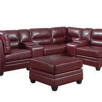 Red Bonded Leather Console