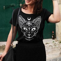 Sphynx Pastel Goth Women Black Cats Print T-shirts Harajuku Funny Graphic Tee Plus Size Fashion Tops
