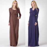 Fall Long Sleeve Maxi Dress with Scooping Neckline Mocha and Navy