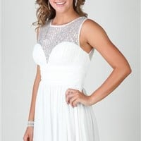 homecoming dress with sheer illusion sequin neck and a line skirt