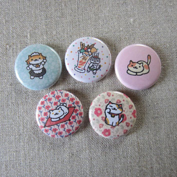 neko atsume rare cats (Saint Purrtrick, Ms. Fortune, Peaches, Sassy Fran, and Guy Furry) 5 pack pinback buttons