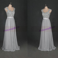 2015 long gray chiffon bridesmaid dress hot,latest elegant women dress for prom party,affordable bridesmaid gowns in stock.