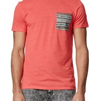 On The Byas Ethan Double Ethnic Pocket Crew T-Shirt - Mens Tee - Red