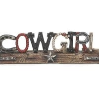 Western Cowgirl Decor Sign Accented with Horseshoes, Ropes and Stars