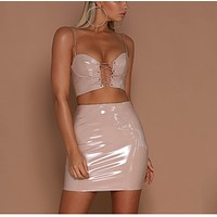 Spring and summer women's new sling strap sexy bag hip two-piece skirt