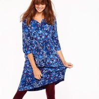 Ophelia French Navy Multi Pheasant Empire Line Dress | Joules US