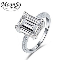 Moonso 2017 big AAA zirconia sterling silver women wedding engagement ring R4338S