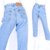 Size 6 S Levis 550 High Waisted Mom Jeans - Cropped 90s Vintage Stone Washed Light Blue Tapered Loose Relaxed Fit Womens Jeans -  27 Waist