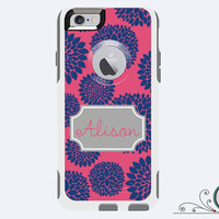 iPhone 6 Otterbox Commuter Case Monogrammed Blooms Custom Color Initials Personalized Cell Phone Case Protective Plastic Hard Cover