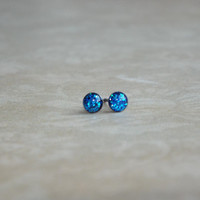 Teeny Tiny Sapphire Glitter Earring Studs Small Post Earrings