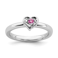 Sterling Silver Stackable Expressions Created Pink Sapphire Heart Ring