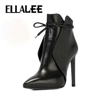 ELLALEE New Sexy Pointed  Boots Boots European And American Warm Stiletto Platform Nude Women High Heel Winter Boots