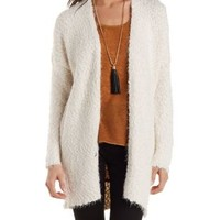 Ivory Slouchy Open Front Fuzzy Cardigan by Charlotte Russe