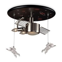 ELK Lighting 3-Light Astronaut Flush Mount in Satin Nickel