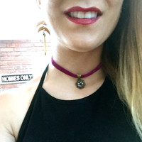 Velvet Choker Druzy Charm Necklace Maroon Red Purple Garnet Bronze Adjustable Chain Flower Dangle Chokers Azeeta Designs Azeetadesigns