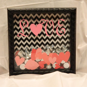 8x8 Valentines Day Hearts and Kisses Shadow box