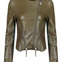 Green Aritificial Leather Jacket with Front Zippers