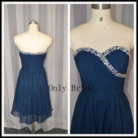 cheap bridesmaid dress, navy blue bridesmaid dress, short bridesmaids dress, short prom dresses,bavy blue prom dress short