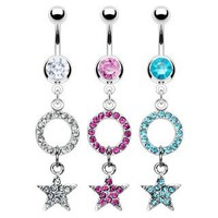 Belly Ring-Crystal Star