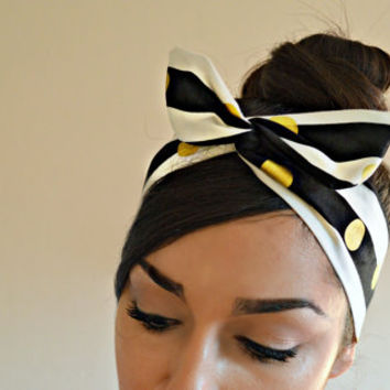 Gold polka dot stripe Dolly bow Headband, hair bow head band