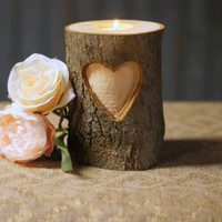 Personalized Carved Heart Candle Holder
