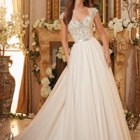 Blu by Mori Lee 5476 Cap Sleeve Beaded Bodice Tulle Ball Gown Wedding – Off White by Bridal Expressions