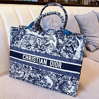 Dior heavyweight seasonal limited pattern low-key handsome street style    Embroidered shopping bag