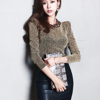 Glittery Long Sleeve Knitted Top