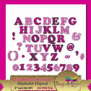 80% OFF Sale WILD About Hot Pink Alphabet, Digital Scrapbooking, Instant Download, Printable, Commercial use