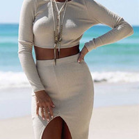 Cream Cable V-neck Back Crop Top And Split Front Pencil Skirt