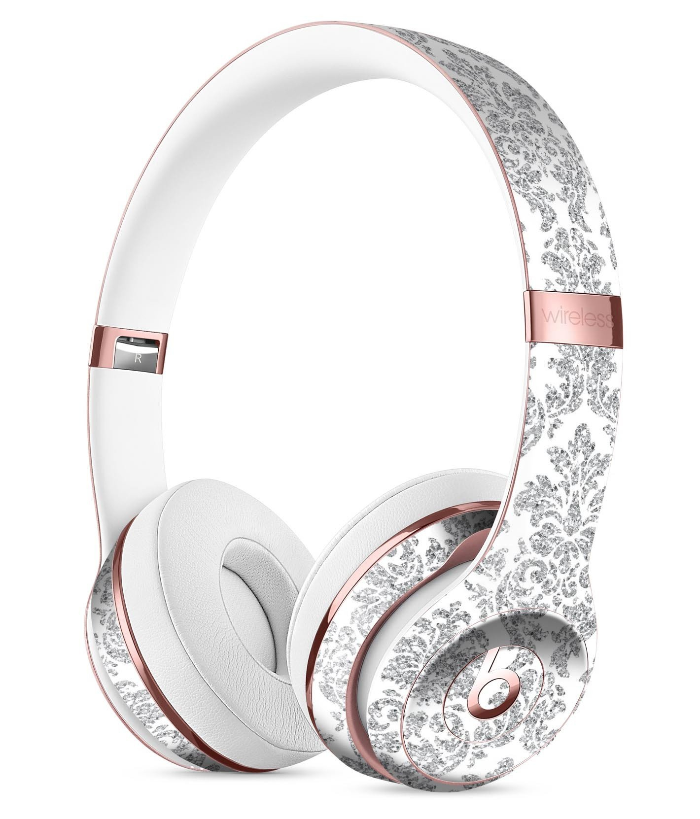 Image of Silver and White Damask Pattern Full-Body Skin Kit for the Beats by Dre Solo 3 Wireless Headphones