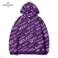 Balenciaga 2018 autumn new tide brand double B printing loose hooded pullover sweater Purple