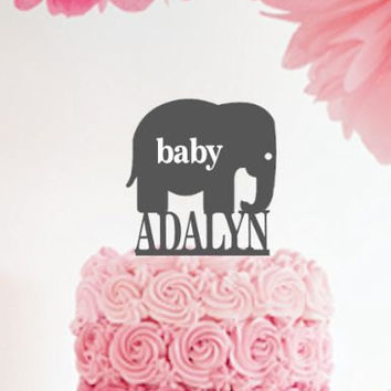 Personalized elephant Baby Shower Cake Topper / Baby Girl Cake Topper / Birth Announcment Girl /Custom  Keepsake  Baby Reveal Party