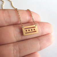 Dainty Chicago Flag Necklace - I Love Chicago! A Daily Reminder of How Much You Love the Windy City.