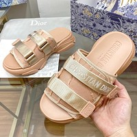 Christian Dior Canvas Embroidered Letter Velcro Slippers Ladies Casual Sandals Beach Slippers Shoes