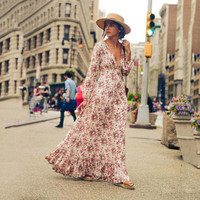 Summer Spring fashion casual long sleeve V-neck waist flower printing long dress