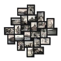 """Adeco Black Wood Wall Hanging Picture Photo Frame Collage, 24 Openings, 4x6"""" Clustered"""