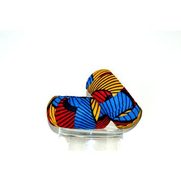Blue And Red Wood African Print Bangles