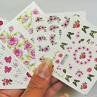 5 sheets Pink Flower Nail wrap, 4 pc White Pearl Nail Charm, Flower Cluster 3d