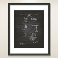 Parachute 1928 Patent Art Illustration - Drawing - Printable INSTANT DOWNLOAD - Get 5 colors background