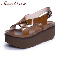 Meotina Genuine Leather Shoes Women Sandals Platform Sandals Platform Wedges Sandals Cross Strap High Heels Brown Black 34-39