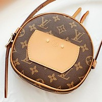 LV New fashion monogram print leather women round shoulder bag crossbody bag