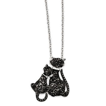 Cheryl M Sterling Silver CZ & Rhodium Cats 18in. Necklace