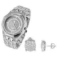 Men's Designer White Gold Finish Iced Out Octagon Face Techno Pave Watch & Earrings Combo