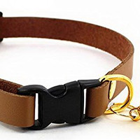 Adjustable Pet Dog Cat PU Leather Collar Release Buckle With Golden Bell S,Brown