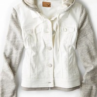 AEO Women's Denim Vested Hoodie (Cream)