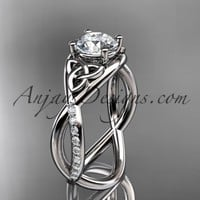 """platinum celtic trinity knot engagement ring, wedding ring with a """"Forever Brilliant"""" Moissanite center stone CT790"""