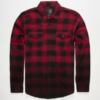 Blue Crown Dip Dye Mens Flannel Shirt Red  In Sizes