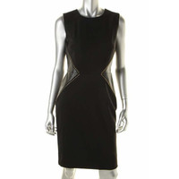 Calvin Klein Womens Faux Leather Studded Casual Dress