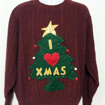 Ugly Christmas Sweater, Red Sweater, Grinch Sweater, Christmas Sweater, Ugly Sweater Party, Large, Item #5